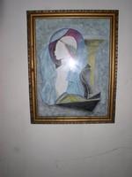 Kádár Béla ? akvarell-guache, papír, 38 x 29 cm, jelzés nélkül. Üvegezett keretben.