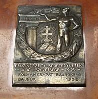 'Folyamcsapat bajnokság 1935 bajnok' ezüst plakett.