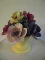 Gyönyörű jelzett porcelán, talpas virágcsokor!