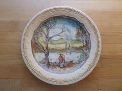 Egyedi festésű régebbi Gránit tányér 24 cm