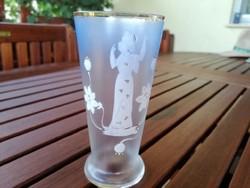 Antik kézzel festett tündéres üveg pohár