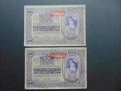 2 darab 10000 korona 1918 Sorszámkövető nagy alakú bankjegyek