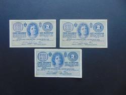 3 darab 2 korona 1914 C LOT !