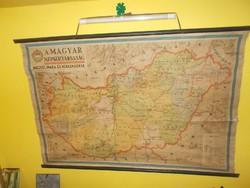 Régi nagyméretű fali iskolai térkép magyar népköztársaság megyéi ipara