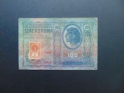 100 korona 1912 + 1 korun Csehszlovákia bélyeg !