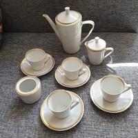 Alföldi 4 személyes kávés készlet (fehér aranyozott szegéllyel)