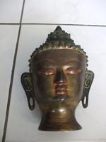 Nagyméretű réz buddha fej