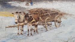 Németh György: Csacsi fogat, olaj, fa, téli tájkép. Szamár fogat