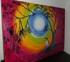 Szivárvány alatt, absztrakt festmény, 50 x 70 cm