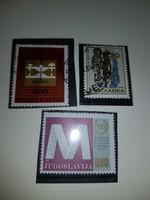 Jugoszláv, 2db, futott, 1 db postatiszta, 1960-70-es évek