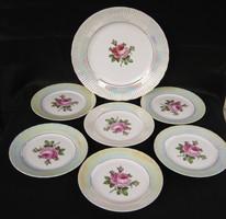Német porcelán 6 személyes rózsás süteményes készlet