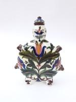 Mayer G. Városlőd kulacs - kupakjával együtt! - gyönyörű virágos festéssel - antik fajansz