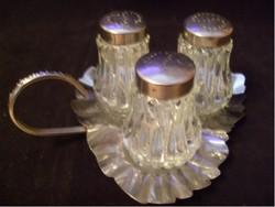 3db-os üveg Fűszertartó szóró + hordozható Fogantyús Tálcával