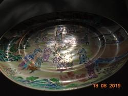 19 sz CANTON MANDARIN 20 alakos kézzel festett aranyozott dombor színes zománcos kínai dísztál