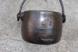 Ritka Eredeti 1800 ból Antik öntöttvas vas kis bogrács edény zománc belsős