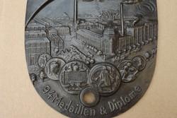 Ritka Eredeti 1878 öntöttvas géptábla a Világ kiállításra készült cégér vas gép tábla