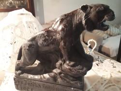 Régi tigris  szobor jelzésekkel Patinás fellelt állapotban