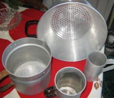 Régi alumínium mérőedény 3 darab és szűrő