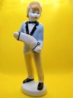 Nagyon szép porcelán harmonikás fiú, fiú harmonikával 16 cm magas