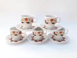 6 személyes Hollóházi retro virág mintás kávéskészlet - eszpresszós mokkás készlet - kávéscsészék