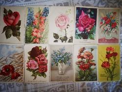 Virágos képeslapok 10 db