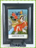 Szép, német, fordított üvegfestéssel készült kép, szép fa keretben