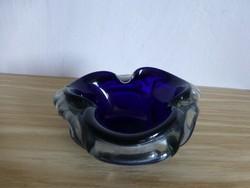 Gyönyörű,kék,szakított üveg,virág alakú kínáló,asztalközép