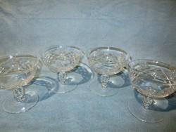 4 db gyönyörű talpas kristály pohár