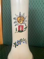 Apátfalvi / Bélapátfalvi címeres népi keménycserép váza 19-20 cm magas