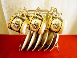 Yamasen Gold 24 karátos arannyal bevont Japán porcelán kávés készlet fém tartó állványon