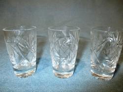 3 db kristály pálinkás pohár