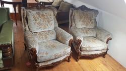 Faragott barokk ülőgarnitúra kivehető ülő párnákkal