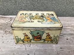 Eredeti Fratelli Deisinger festett fém teásdoboz kínai jelenetekkel.1930-as évek  RITKA!!!