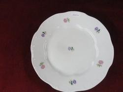 Zsolnay porcelán lapos tényér, apró virágmintával.