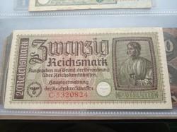 Németország Harmadik Birodalom 20 márka bankjegy szép állapotban