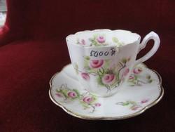 WLLROSE angol porcelán teáscsésze + alátét. Sorszámozott, hullámos szélű.