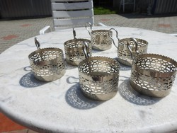 Vintage fém pohártartó készlet 6 db