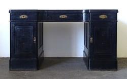 0X929 Antik fekete szecessziós íróasztal 142 cm