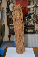 Régi keleti nagy méretű fa faragott figura