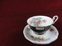 BONE BELLCHINA angol porcelán teáscsésze + alátét. Külseje fekete, belül rózsa mintával.