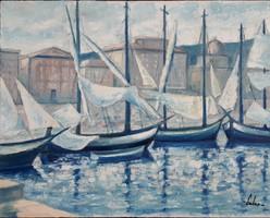 -Kikötő látképe- olajfestmény