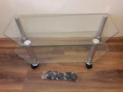 Újszerű HAMA üvegasztal 5 plusz görgővel