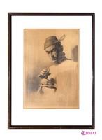 """Ismeretlen szerző, """"Vadász síppal"""" c. képe. Feltehetően XX. sz.-i olasz művész alkotása."""
