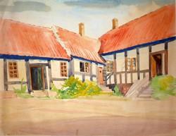 Barta Mária: Falusi utca, 1940 + 5 db rajz