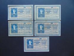 5 darab 25 korona 1918 LOT !!!