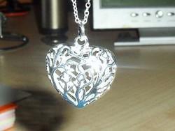 Áttört Csipke Szív 925 ezüst - fehérarany nyaklánc