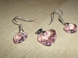 Púder Rózsaszín Szív ezüst - fehérarany Medál + ajándék Fülbevaló Szett