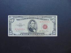 USA 5 dollár 1953 Piros pecsét !!!