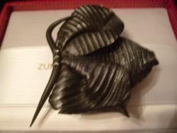 Bross, Bőrből 7-cm Levél Forma egyedi  művészi nagyméretű