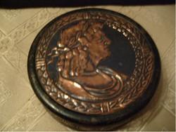 Ékszertartó Mátyás királyt ábrázoló,bronzosított szelence 10cm kÍvül-belül bélelt